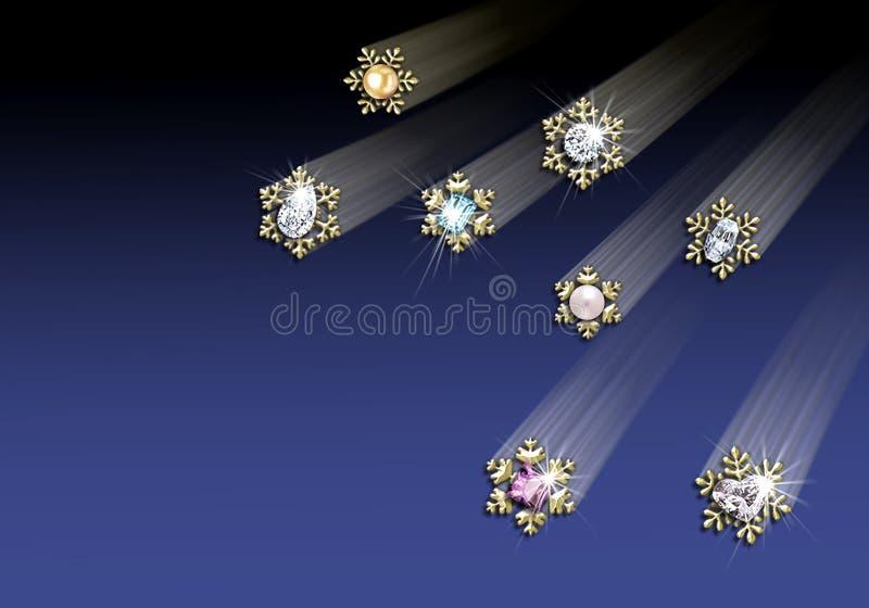 guld- juvelsnowflake w för kant stock illustrationer