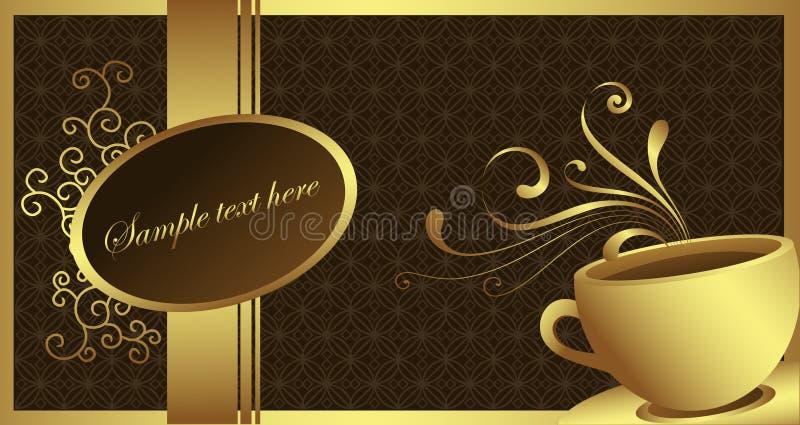 guld- kaffe stock illustrationer