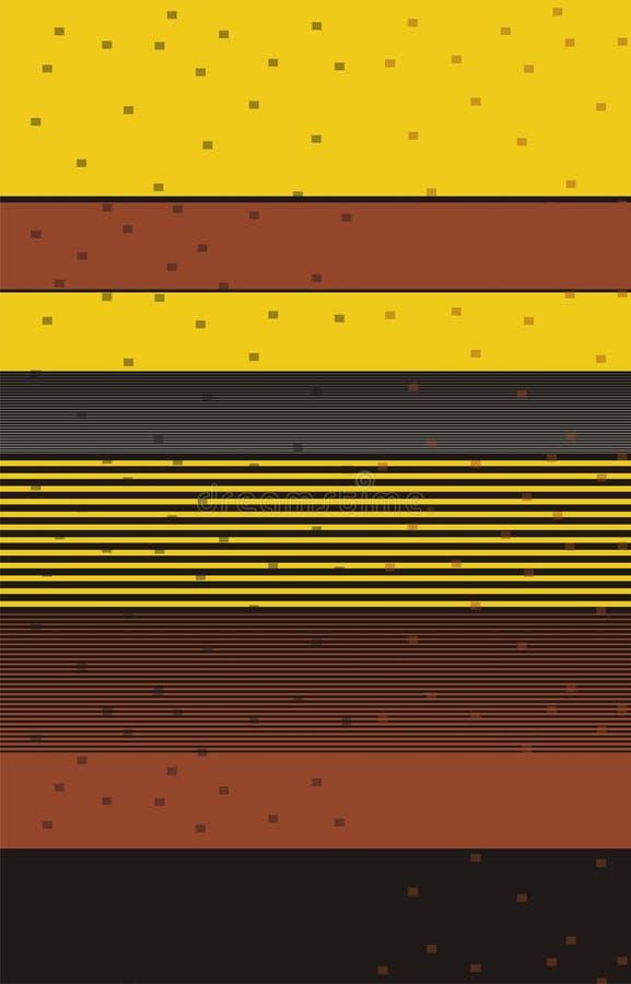 Guld kaffe, orange horrizontal bandvektordesign med över hela texturer av askar av 2 färger stock illustrationer