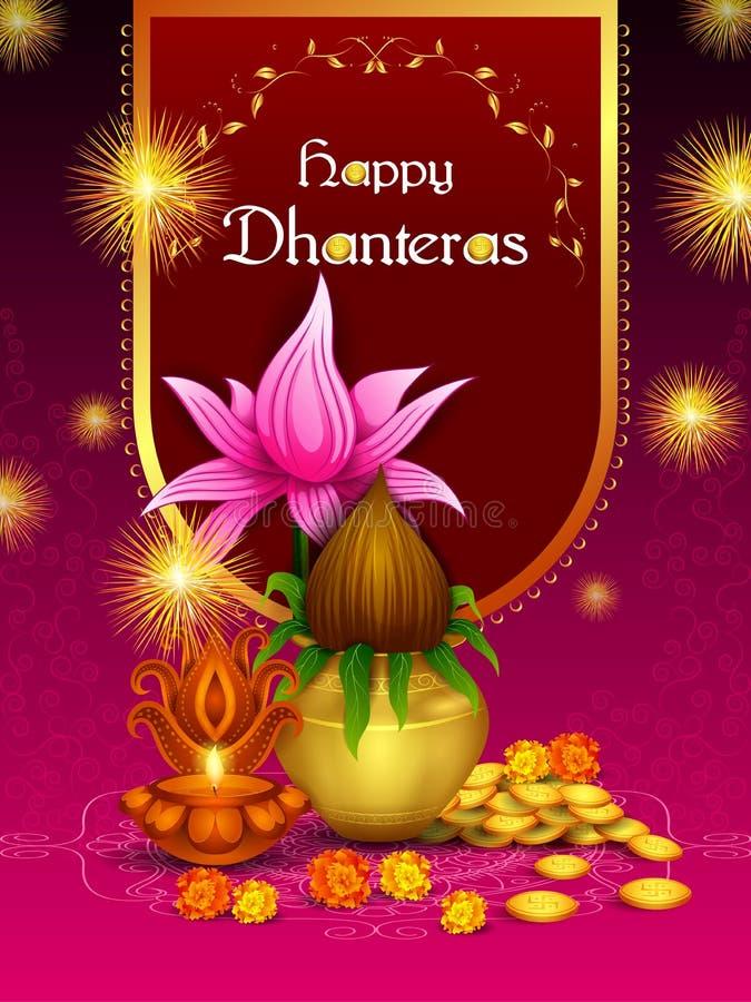 Guld- Kalash med den dekorerade diyaen för lycklig beröm för Dhanteras Diwali festivalferie av Indien som hälsar bakgrund vektor illustrationer