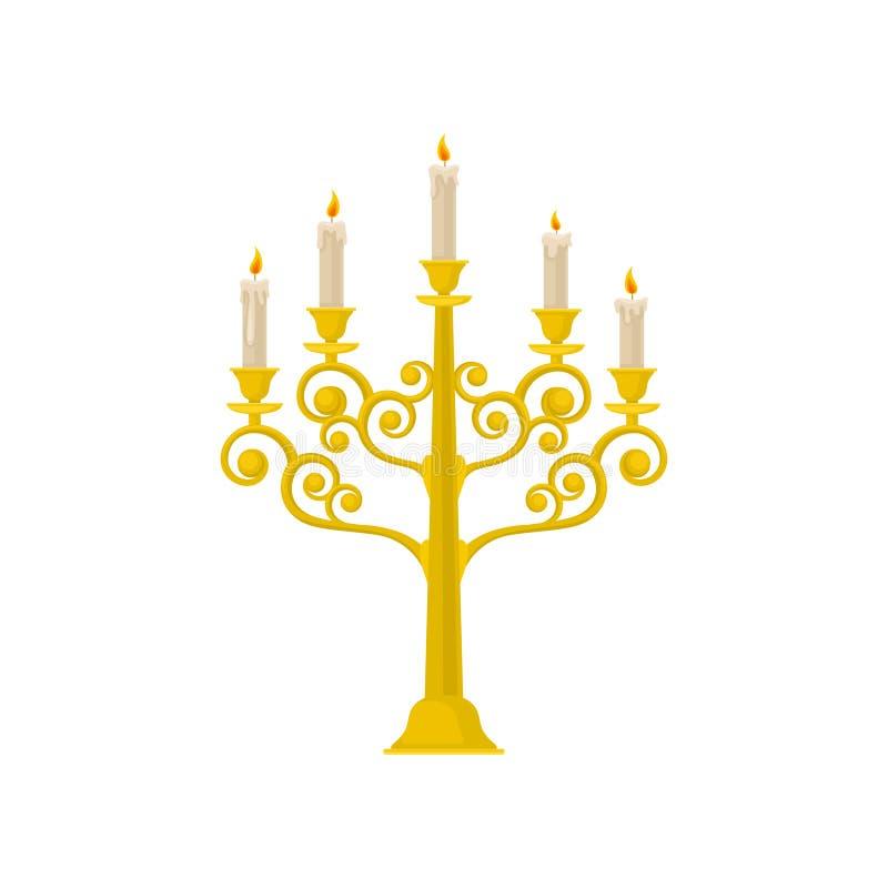 Guld- kandelaber med brinnande stearinljus, illustration för tappningljusstakevektor på en vit bakgrund stock illustrationer