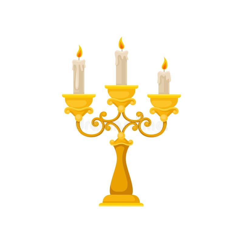 Guld- kandelaber med tre brinnande stearinljus, illustration för tappningljusstakevektor på en vit bakgrund vektor illustrationer