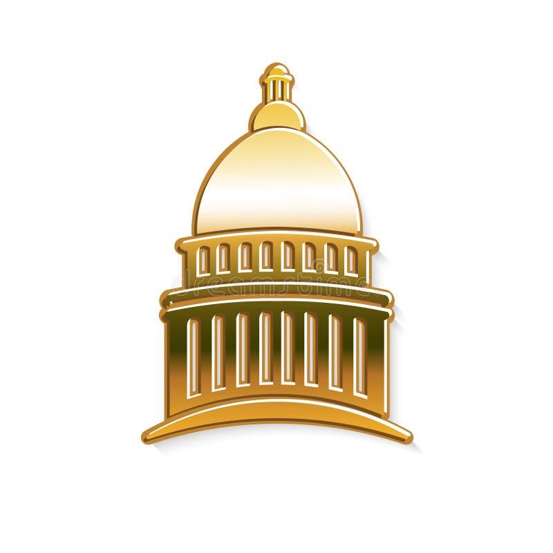 Guld- Kapitoliumbyggnadsillustration royaltyfri illustrationer