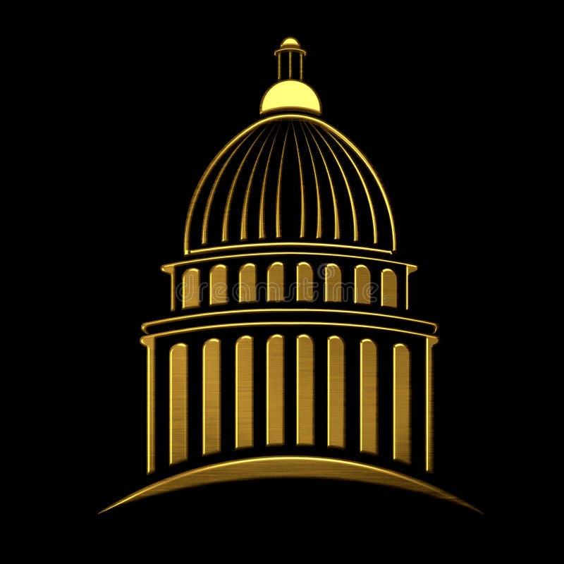 Guld- Kapitoliumbyggnadslogo royaltyfri illustrationer