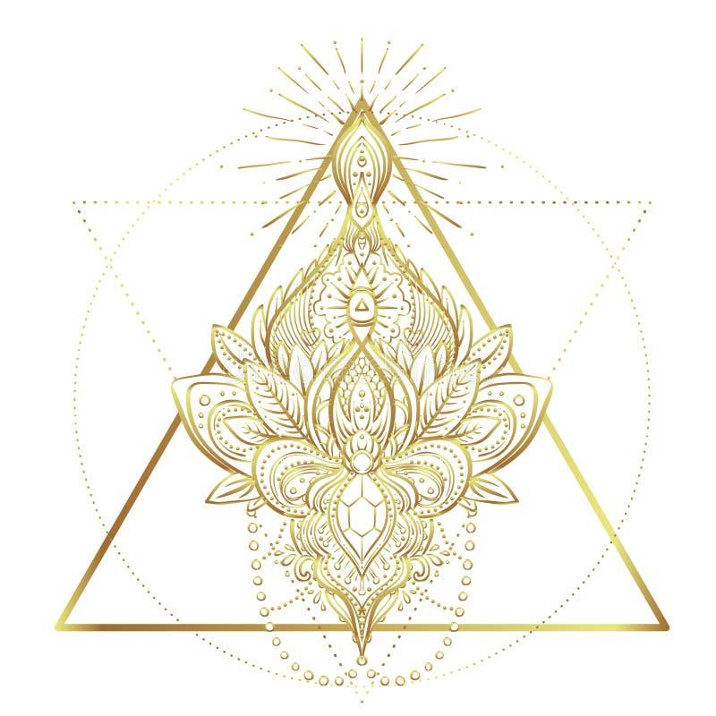 Guld- karaktärsteckning för tappning i orientalisk stil Linje konstbeståndsdel för stock illustrationer