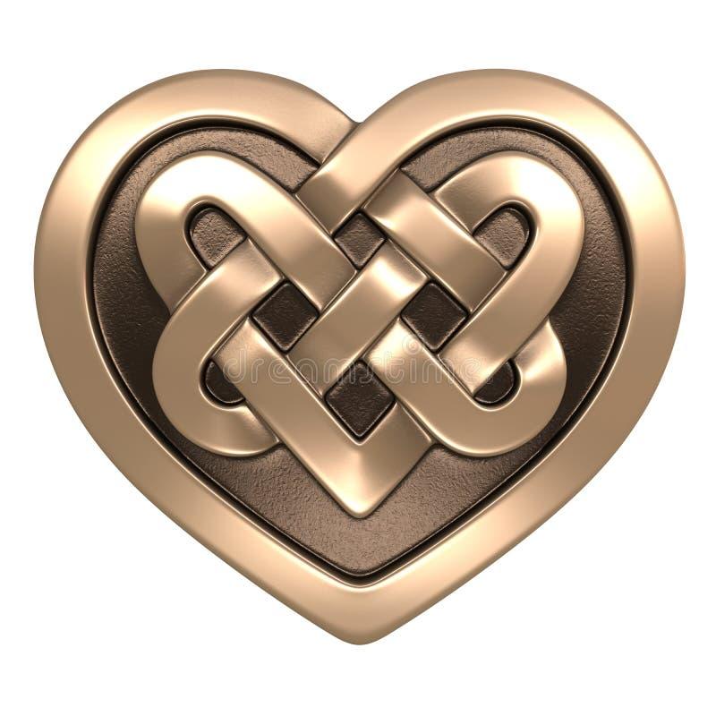 Guld- keltisk hjärta stock illustrationer
