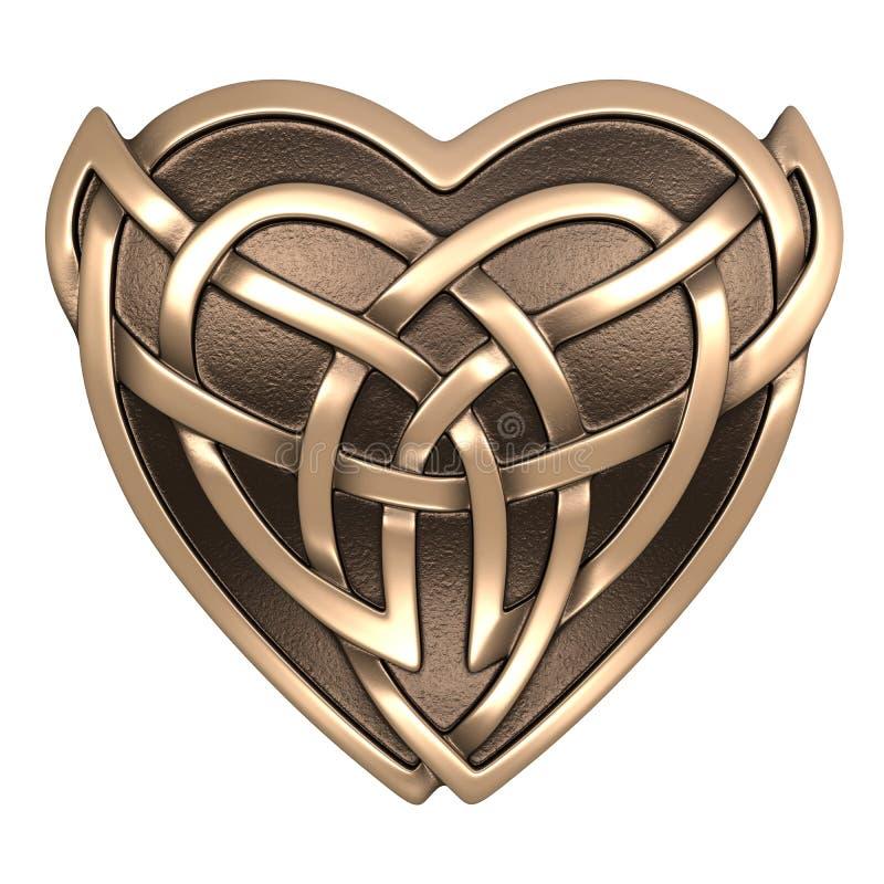 Guld- keltisk hjärta vektor illustrationer