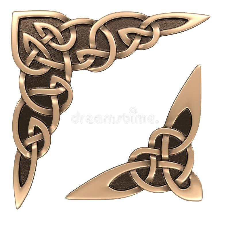 Guld- keltisk prydnad vektor illustrationer