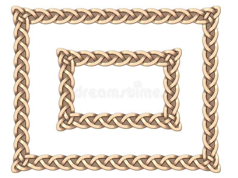 Guld- keltisk ram stock illustrationer