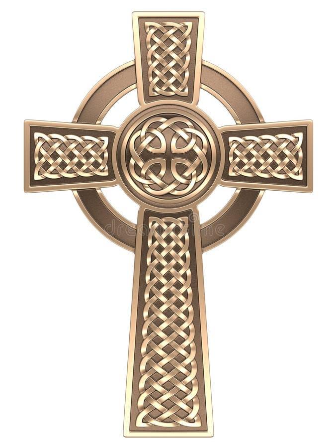Guld- keltiskt kors royaltyfri illustrationer