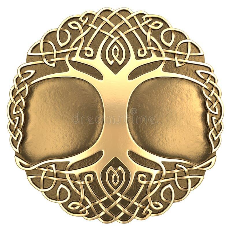 Guld- keltiskt träd royaltyfri illustrationer