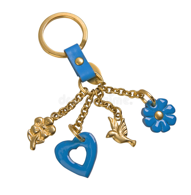 Guld- keychain royaltyfri foto