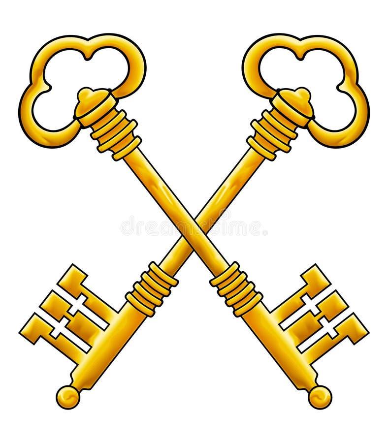 guld keys vektorn royaltyfri illustrationer
