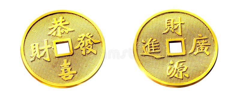 guld- kinesiskt mynt arkivfoton