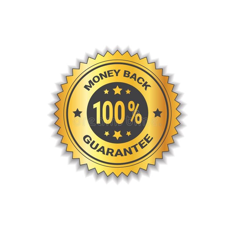 Guld- klistermärkepengarbaksida med garanti 100 isolerad procent etikettstämpel vektor illustrationer