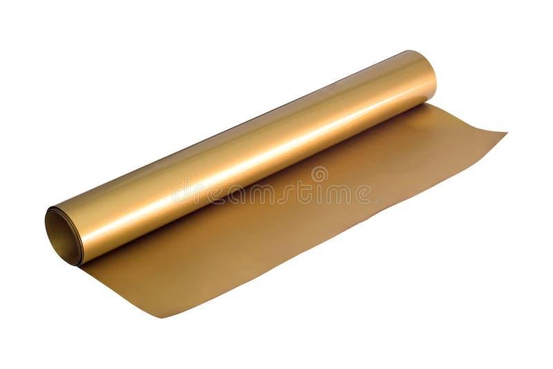 Guld- klisterm?rkerulle som isoleras p? vit bakgrund Omkullkasta arkmaterial Snabb bana vektor illustrationer