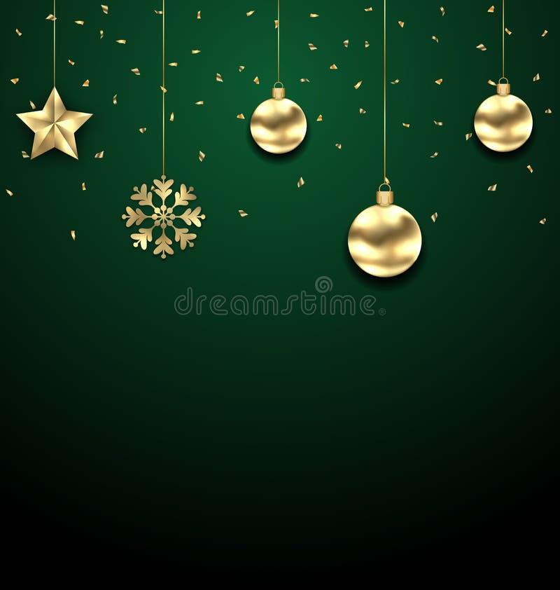 Guld- klumpa ihop sig hänga för jul på mörker - grön bakgrund stock illustrationer