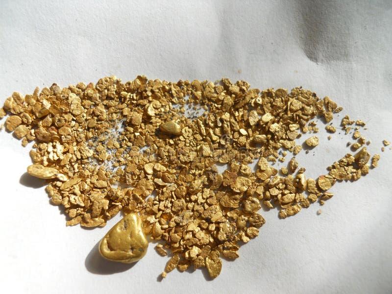 Guld- klumpar och flingor arkivfoton