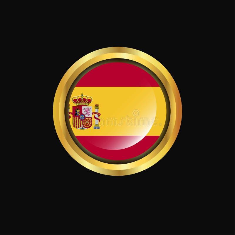 Guld- knapp för Spanien flagga stock illustrationer