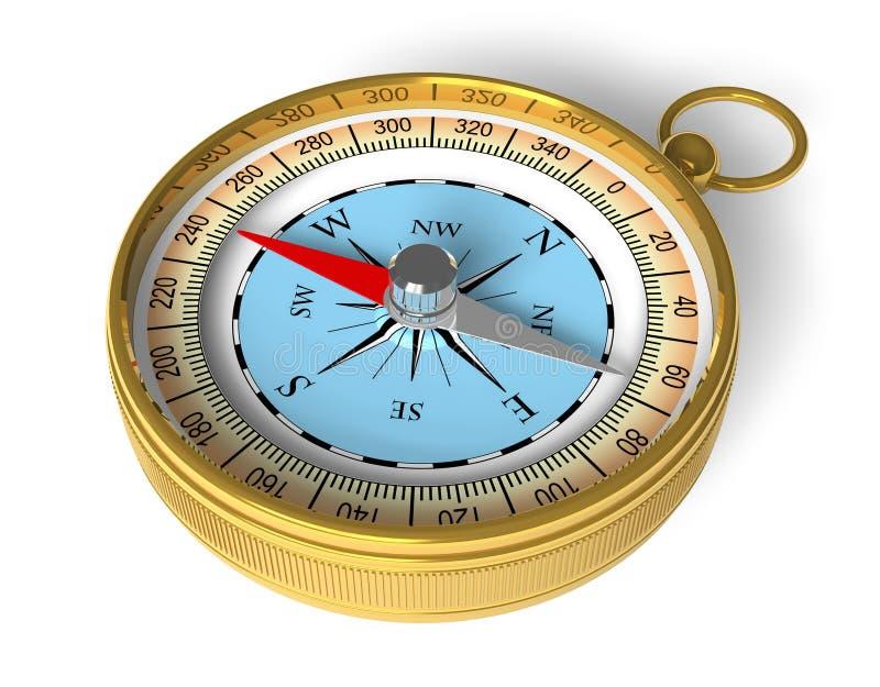 guld- kompass royaltyfri illustrationer