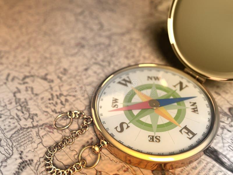 guld- kompass stock illustrationer