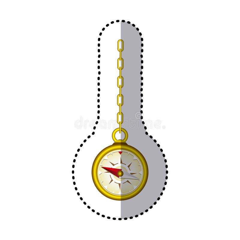 guld- kompass för klistermärke som hänger från en guld- sammanlänkningskedja royaltyfri illustrationer