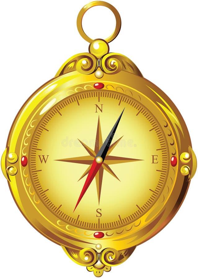 Guld- kompass för tappning vektor illustrationer