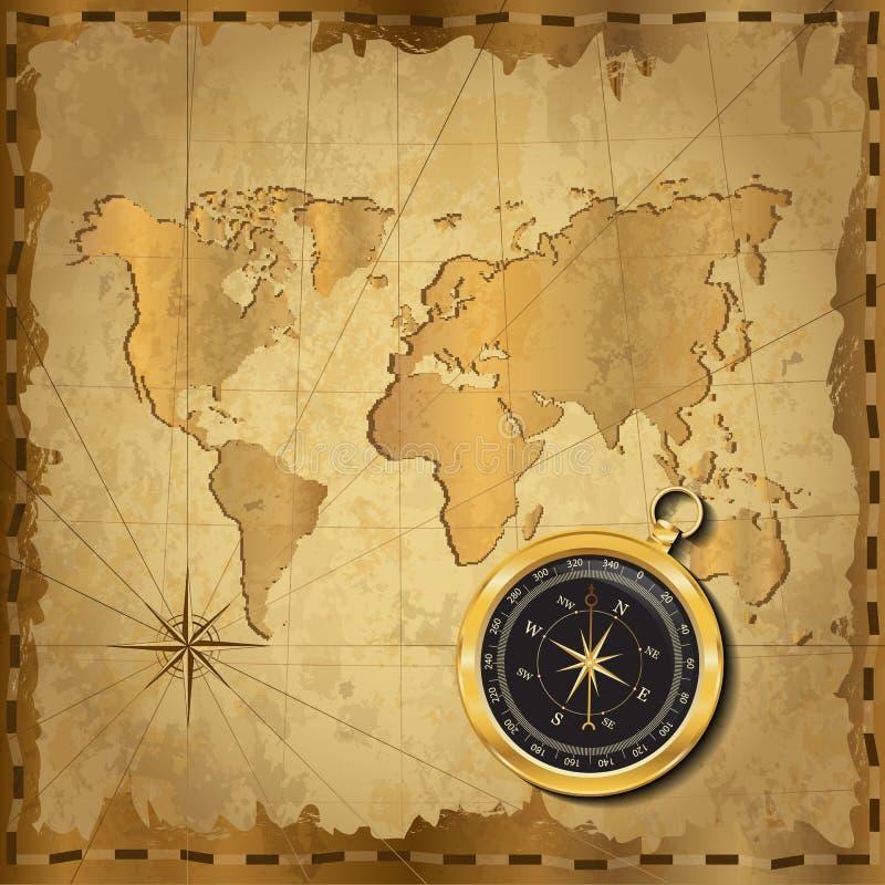 Guld- kompass på tappningöversikt royaltyfri illustrationer