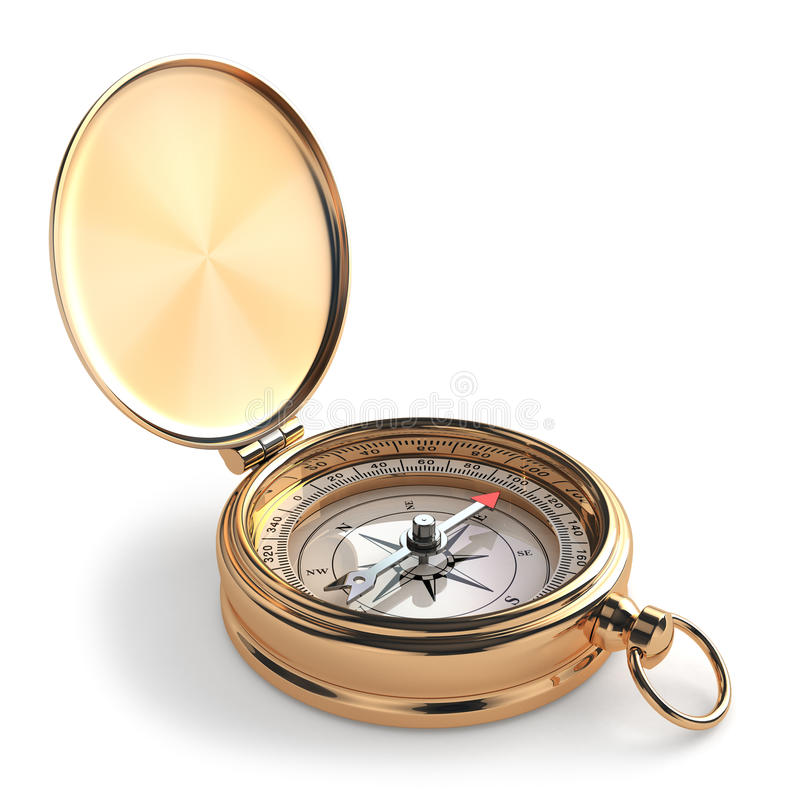 Guld- kompass på vit isolerad bakgrund. stock illustrationer