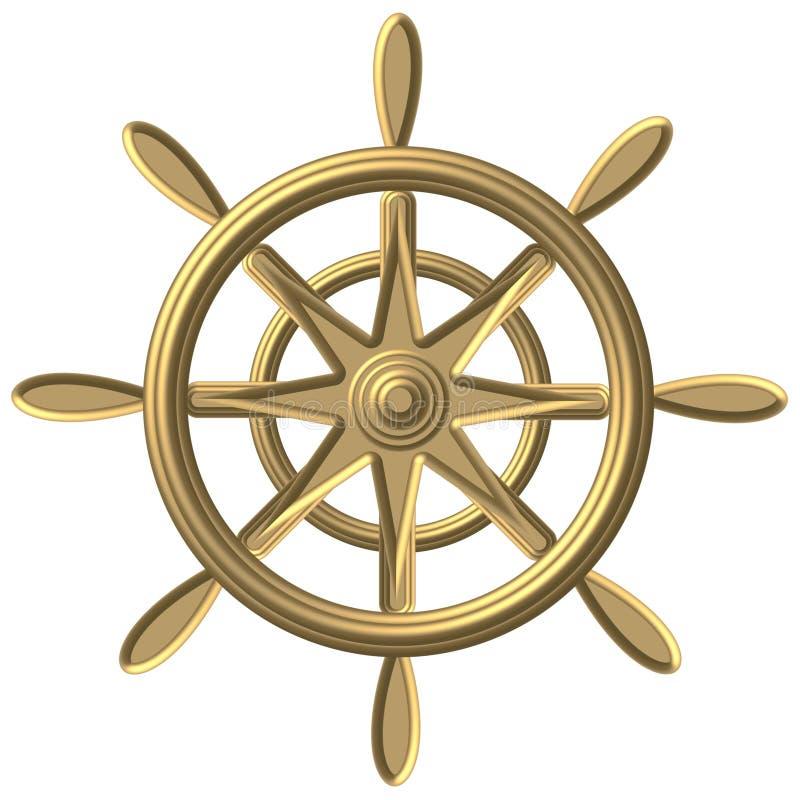 Guld- kompass - windrose - styrhjul stock illustrationer