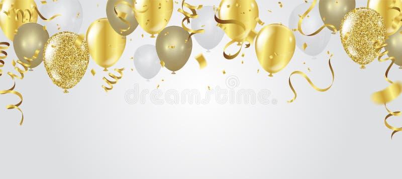 Guld- konfettier för abstrakt bakgrundspartiberöm på vitbac royaltyfri illustrationer