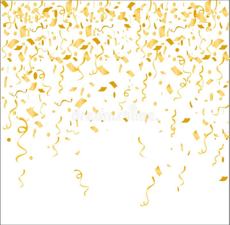 Guld- konfettier för vektorillustration på vit bakgrund Födelsedagen firar begreppet, fallande guld- garnering stock illustrationer