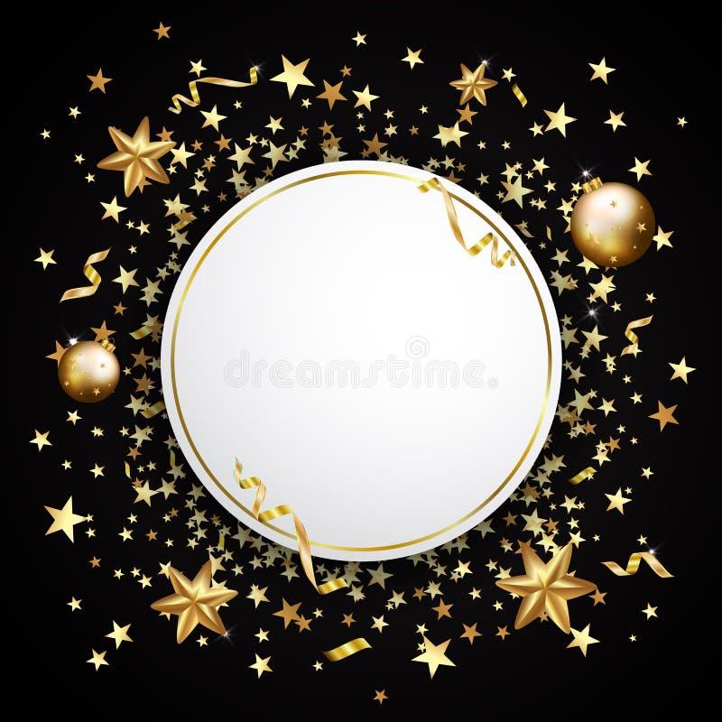 Guld- konfettier på en svart bakgrund Fallande stjärnor, blänker, dusen vektor illustrationer