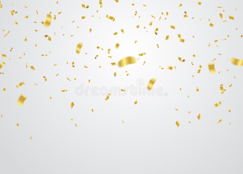 Guld- konfettier som faller på vit bakgrund också vektor för coreldrawillustration vektor illustrationer