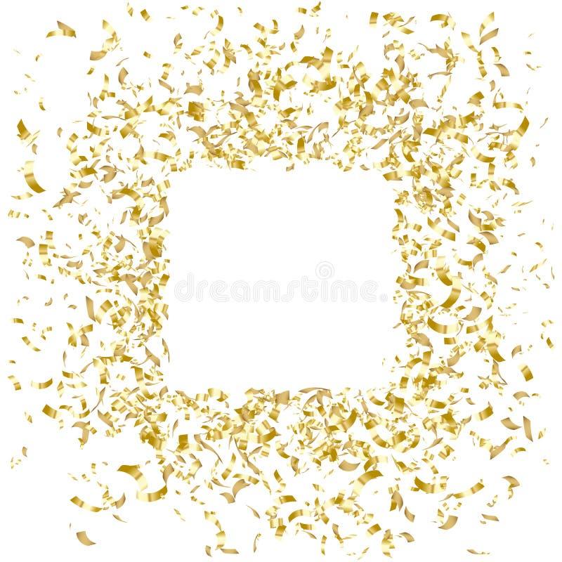 Guld- konfettiramdesign, feriebaner, vektorillustration royaltyfri illustrationer