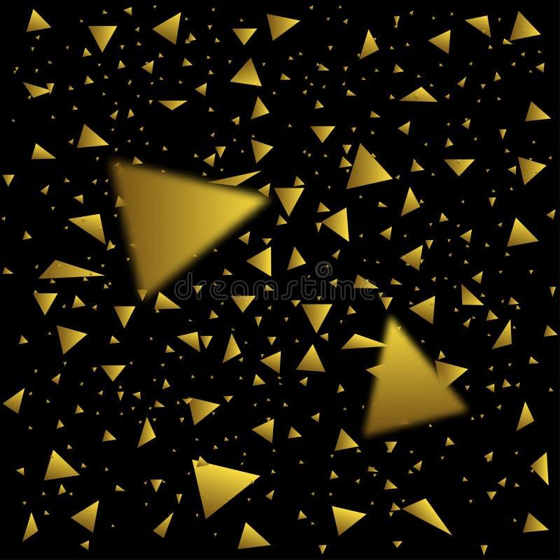 Guld- konfettitrianglar stock illustrationer