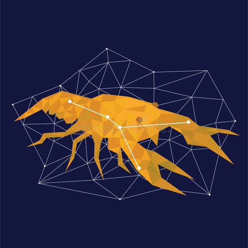 Guld- konstellation på en blå bakgrund som omges av linjer och stjärnor royaltyfri illustrationer