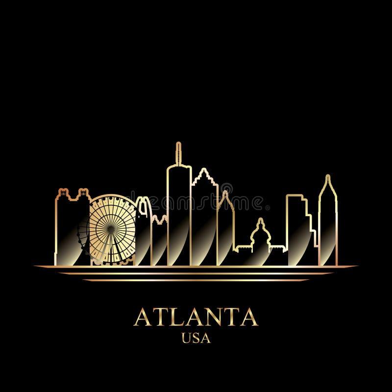 Guld- kontur av Atlanta på svart bakgrund royaltyfri illustrationer