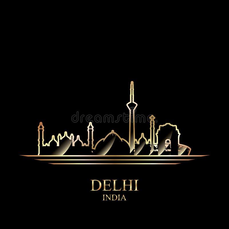 Guld- kontur av Delhi på svart bakgrund royaltyfri illustrationer