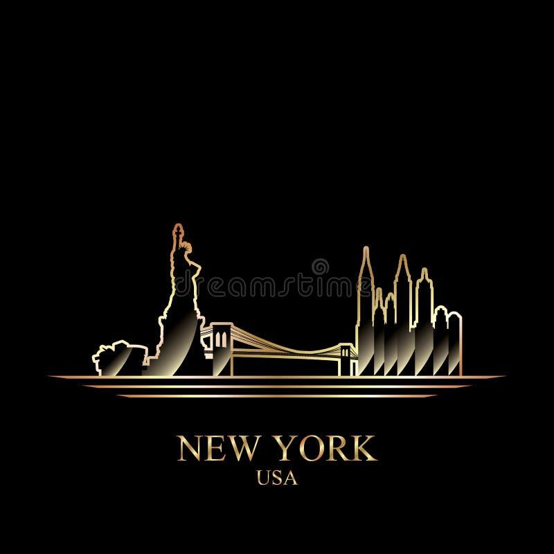 Guld- kontur av New York på svart bakgrund vektor illustrationer