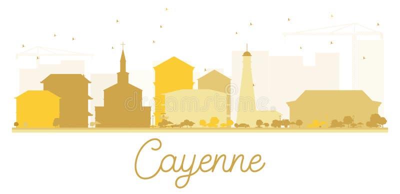 Guld- kontur för Cayenne stadshorisont stock illustrationer