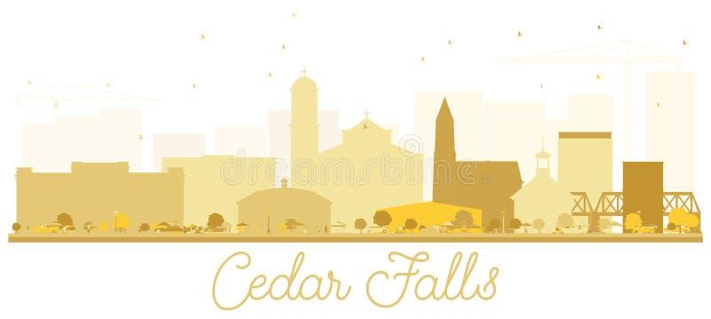Guld- kontur för Cedar Falls Iowa horisont royaltyfri illustrationer