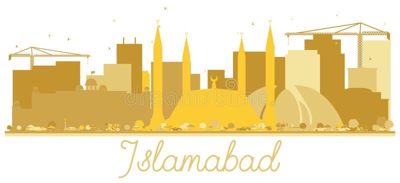 Guld- kontur för Islamabad Pakistan stadshorisont som isoleras på Wh royaltyfri illustrationer