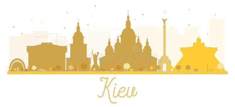 Guld- kontur för Kiev stadshorisont vektor illustrationer