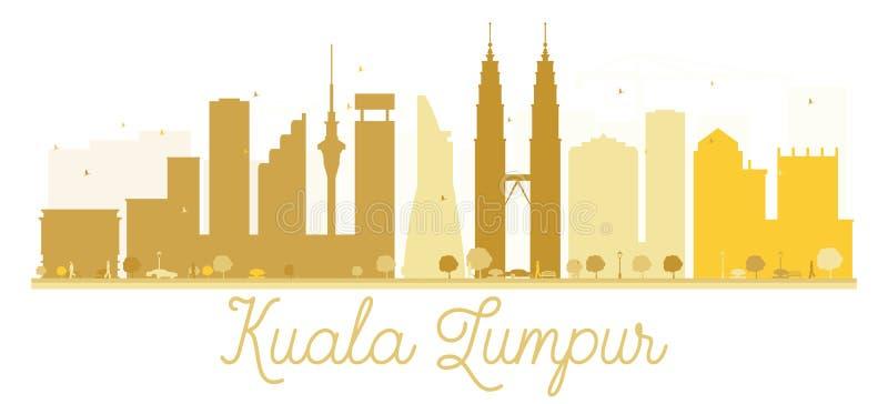 Guld- kontur för Kuala Lumpur City horisont stock illustrationer