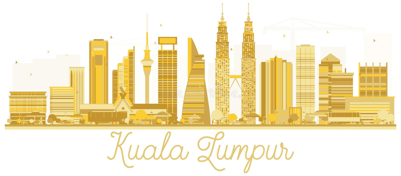 Guld- kontur för Kuala Lumpur Malaysia City horisont vektor illustrationer
