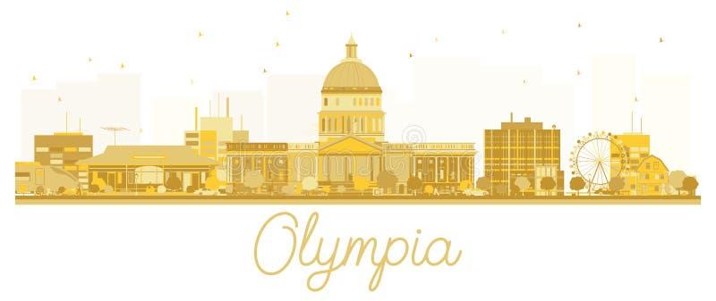 Guld- kontur för Olympia City horisont stock illustrationer