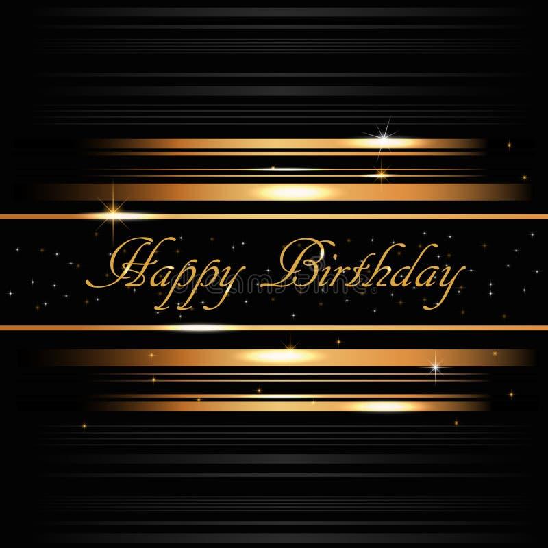 Guld- kort för lycklig födelsedag royaltyfri illustrationer