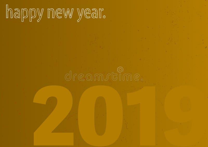Guld- kort för lyckligt nytt år 2019 för grunge stock illustrationer