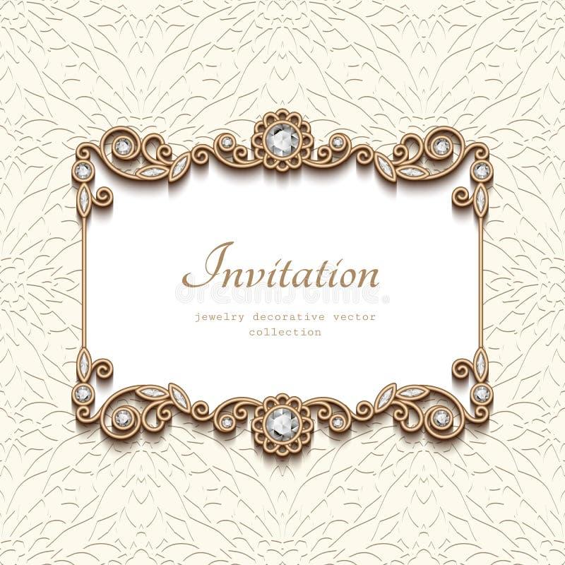 Guld- kort för tappning med diamantsmyckengarnering royaltyfri illustrationer